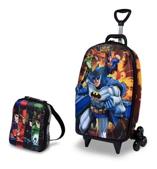 Kit Mochila Infantil 3d Menino Batman + Lancheira Diplomata