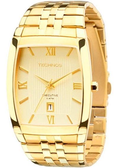 Relógio Technos Quadrado Masculino Dourado Original