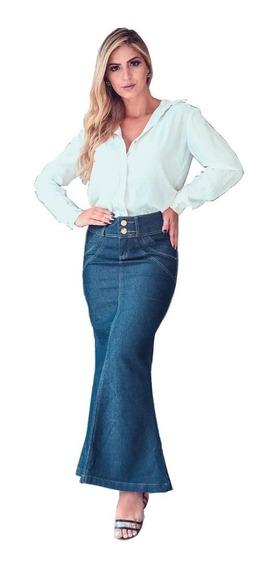Moda Evangélica Saia Longa Jeans Saia Jeans Longa Lycra 073