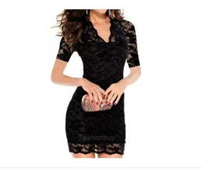 ** Mini Vestido Sexy Fiesta / Cóctel Encaje / Tela Delgada *
