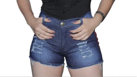 05 Short Jeans Feminino Cintura Alta Atacado Hot Pants Lycra