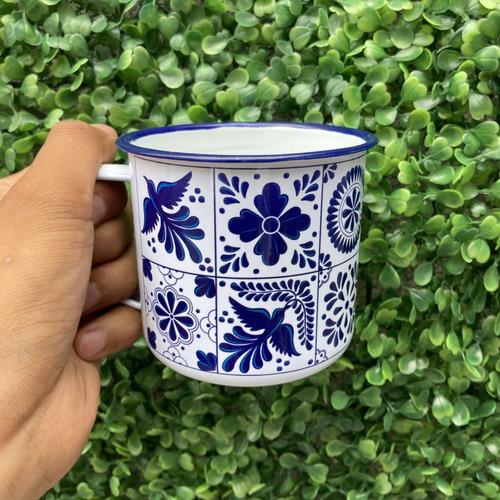 Imagen 1 de 2 de Taza Peltre 11oz  Talavera - Diseño Mexicano