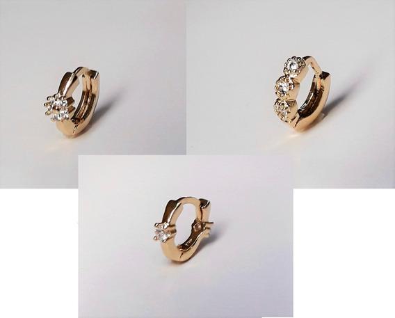 Piercing Orelha Cartilagem Argola C/ Zirconia Folheado A Ouro 18k Vários Modelos Helix