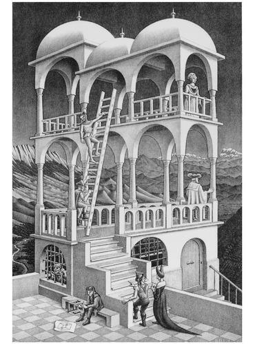 Poster Grande M C Escher 60x90cm Belvedere Enfeite Para Sala