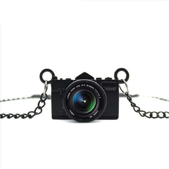 Colar Cordão Camera Maquina Fotografica Preta