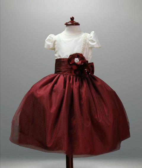 Elegante Vestido Para Niña Tinto O Palo De Rosa