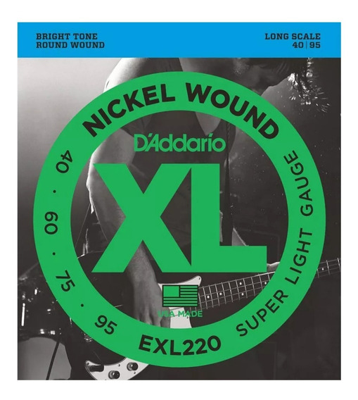 Encordado Daddario Exl220 Xl 040 - 095 Para Bajo 4 Cuerdas