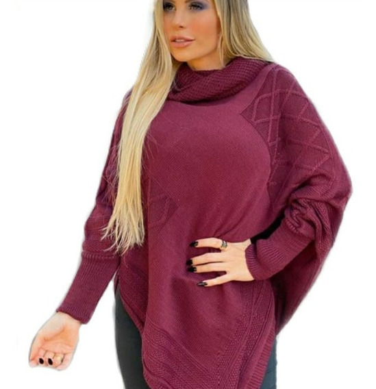 Blusa Prancho Feminino No Tricor Crocher