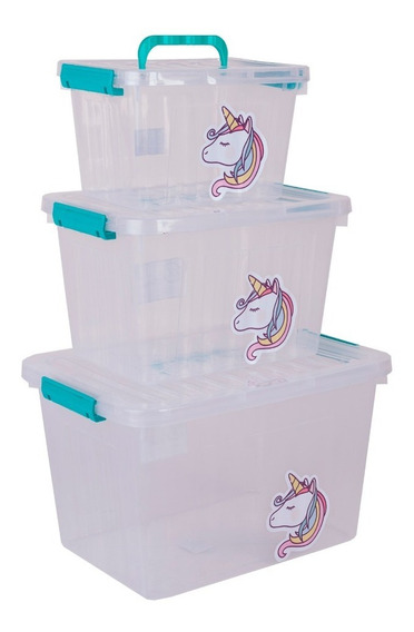 Cajas Unicornio Set X3 Organizadores Plasticos Pony Unicorni