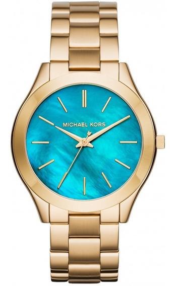 Relógio Michael Kors Feminino Dourado Fundo Azul Mk3492/4vn