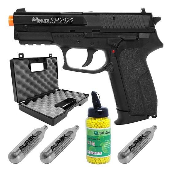 Pistola Airsoft Sig Sauer Sp2022 Slide Metal +maleta+co2+bbs
