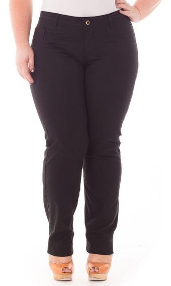Calça Feminina Reta De Sarja Com Elastano Plus Size Caj176