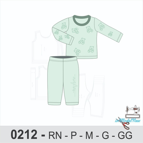 Molde Digital Modelagem De Pijama Bebê De Inverno