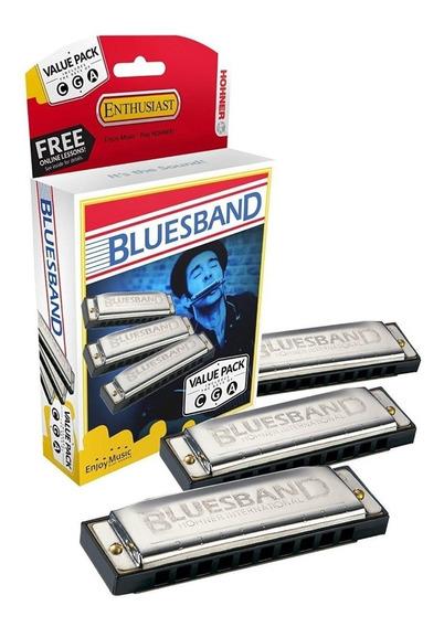 Set Armonicas Diatonica Blusera Blues Band Box X 3 Tonos Acg