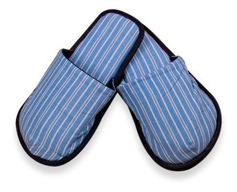Pantuflas Twins Azul Rayas Blancas Pieza Única Ptu1001