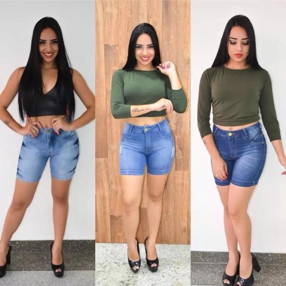 Bermuda Shorts Jeans Feminino Meia Coxa Cintura Alta 3 Pçs