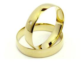 Aliança Ouro18k-750 5gr(par) Anatominca Casamento 1 Diamante