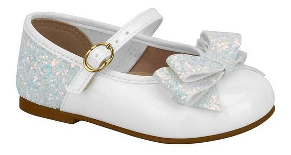 Zapatos Bautismo Nena Molekinha Moño Glitter Acolchados Bebé