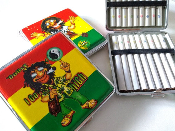 Cigarrera Jamaica Metal Porta Cigarrillos Cigarros Tabaco