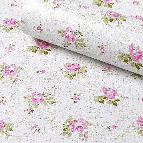 Simplelife4u Pink Rose Contact Paper Extraíble Shelf Liner