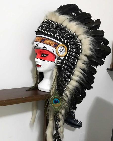 Cocar Indígena Americano Médio Alongado *frete Grátis!