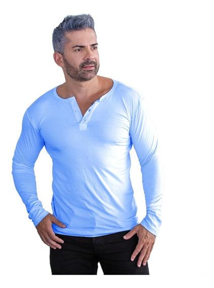 Camisa Masculina Slim Top Henley Manga Longa