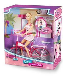 Muñeca Kiara Y Su Bicicleta Tipo Barbie Poppi B111 Educando