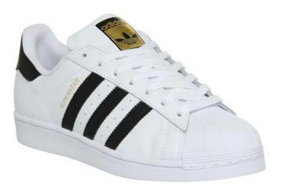 Tenis adidas Superstar Concha Negro Con Blanco