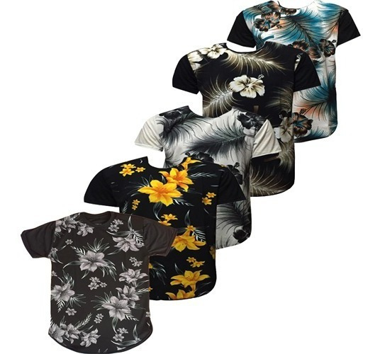Kit 5 Pç Camisas Long Line Masculina Oversiz Floral Caveira