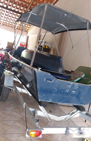 Barco De Aluminio 5mt ,carreta,motor Popa 15hp Sonar Garamin