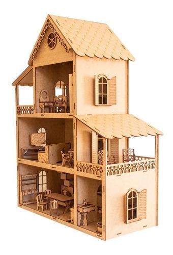 Casa De Bonecas 60cm +51 Móveis Montados Janela+nome
