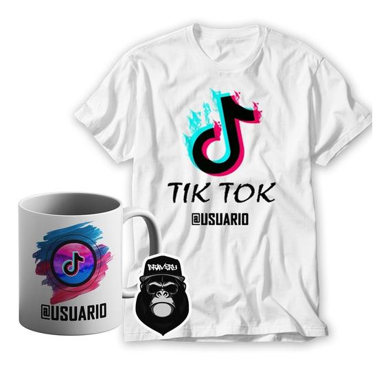 Remera Tiktok + Taza Ceramica Con Usuario - Red Social