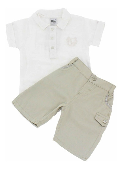 Conjunto Bebê Menino Camisa E Bermuda Caqui