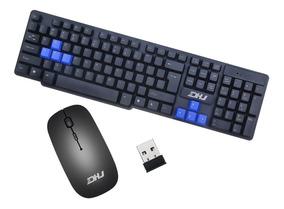 Teclado E Mouse Sem Fio Optico Dhj-8011 Classico Notebook