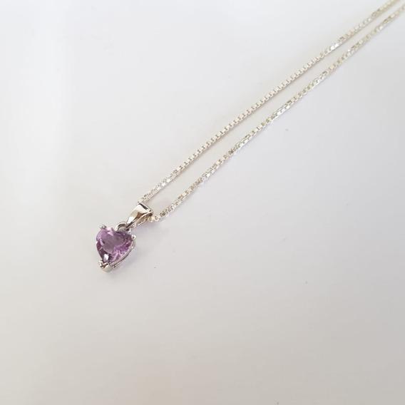 Corrente Prata 925 Feminina Coração Púrpura