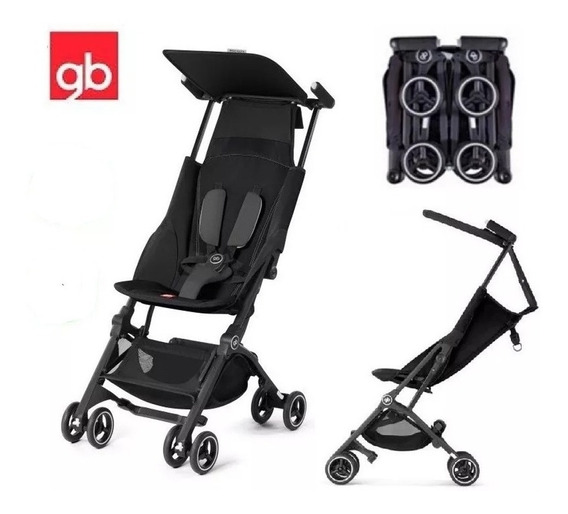 Carrinho De Bebê Compacto Gb Pockit+ Novo - Preto