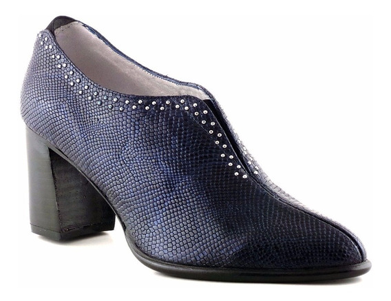 Zapato Cuero Mujer Briganti Vestir Abotinado Taco Mccz03439