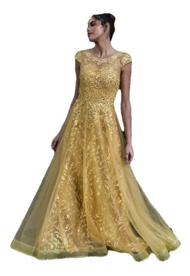 Vestido Festa Madrinha Debutante Dourado Com Flores Bordadas