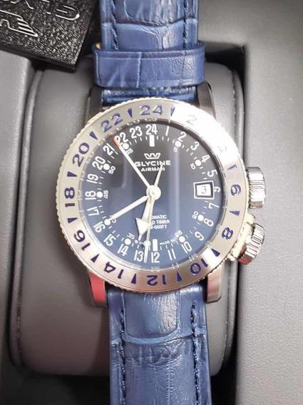 Relógio Glycine 3918.18.lbk8 Airman 18 Gmt Automático Novo