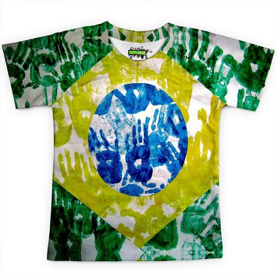 Camiseta Infantil Brasil Bandeira Copa Md02