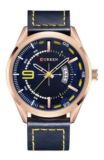 Relógio Masculino Original Couro Azul E Rose Curren 8295
