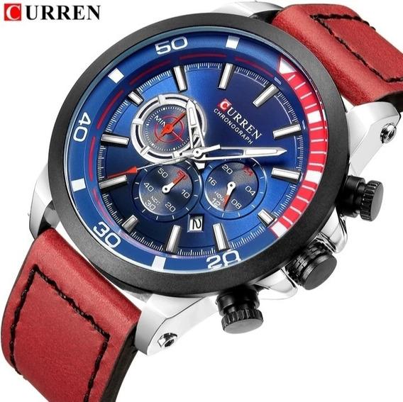 Relógio Masculino Curren Cronógrafo Funcional Couro Nf C.22