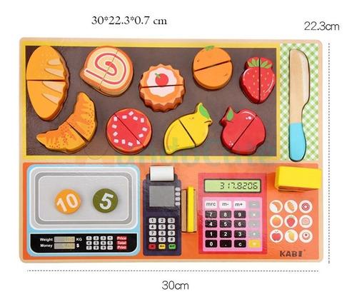 Imagen 1 de 8 de Set Registradora Alimentos Juguetes Montessori Didácticos