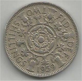 Moneda Inglaterra 2 Shilling 1959