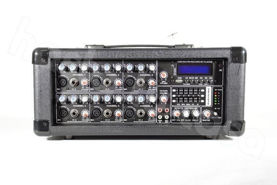 Mezcladora Consola De 6 Canales Audiobahn, Incluye Phantom.