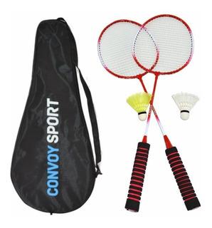 Kit Badminton 2 Raquetes Convoy + 2 Petecas Promoção