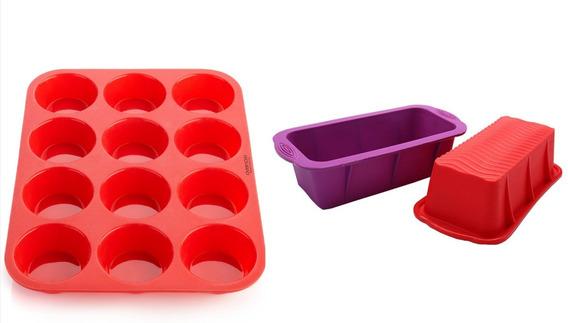 Set Molde Muffins + Budinera Silicona Horno X12 Reposteria