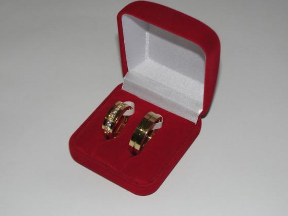 Alianças Noivado Casamento Ouro 18k Titanium Ped. Zircôni