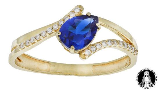 Anel Curvo De Ouro 18k Zirconia Gota Azul C/ Nf E Garantia U