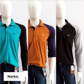Kit 3 Camisas Polo Manga Longa 100% Algodão Narkótiko